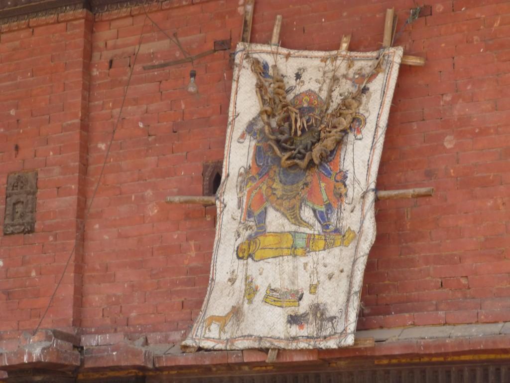 Intestines from sacrificed bull on the Dattatreya Temple
