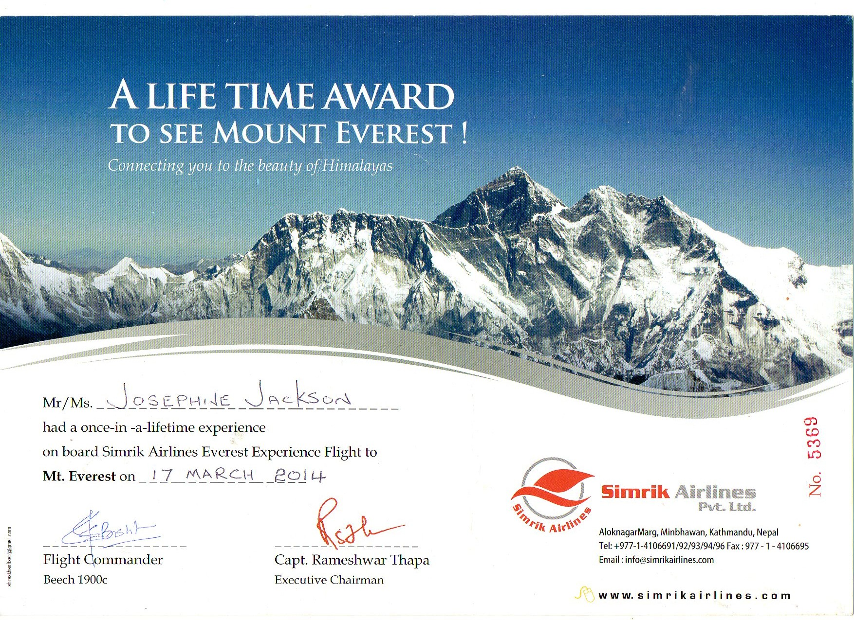 Everest flight certificate